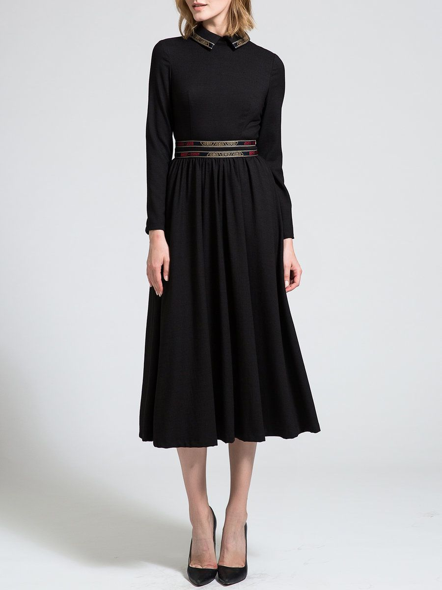 Adorewe stylewe midi dresses borme peter pan collar paneled long