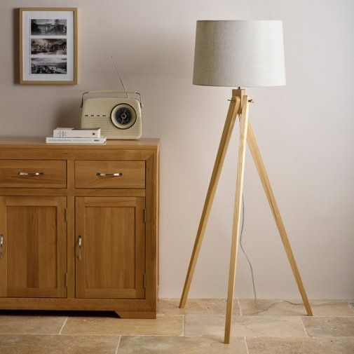 Oulu natural hardwood tripod floor lamp