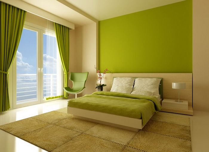 Bedroom Interior Color Ideas Part - 46: Bright Green And White Bedroom Interior Colors