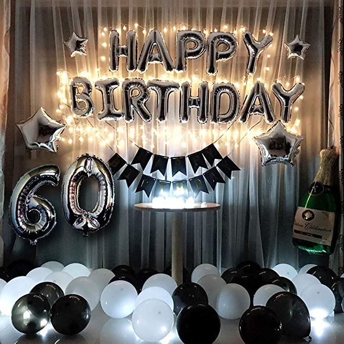 """60th Birthday  60th Anniversary Decorations Party Supplies 18/""""  Heart Balloon"""