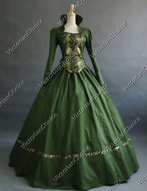 Victorian Gothic Civil War Ball Gown Period Dress Prom Reenactment Theatre…