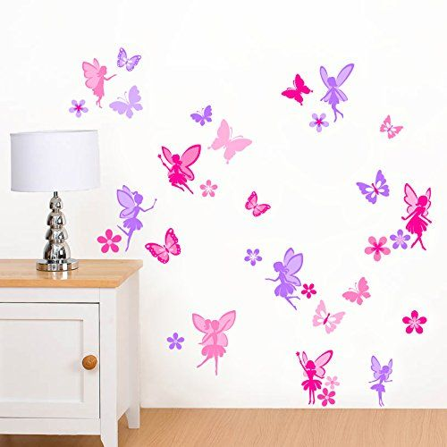 Purple Pink Fairies Flowers Butterflies Girls Printed Wall