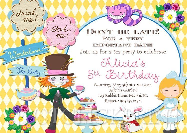 Alice In Wonderland Birthday Invitations Tea Party Party