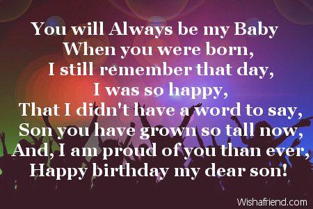 Happy Birthday To My Son Poems Happy Birthday My Dear Son For My