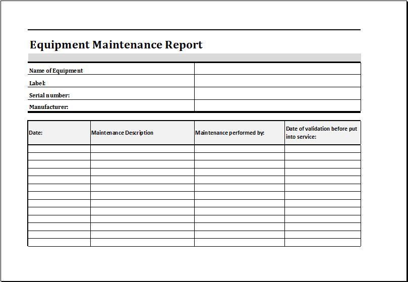 Equipment Fault Report Template 3 Templates Example Templates Example Schedule Template Report Template Templates