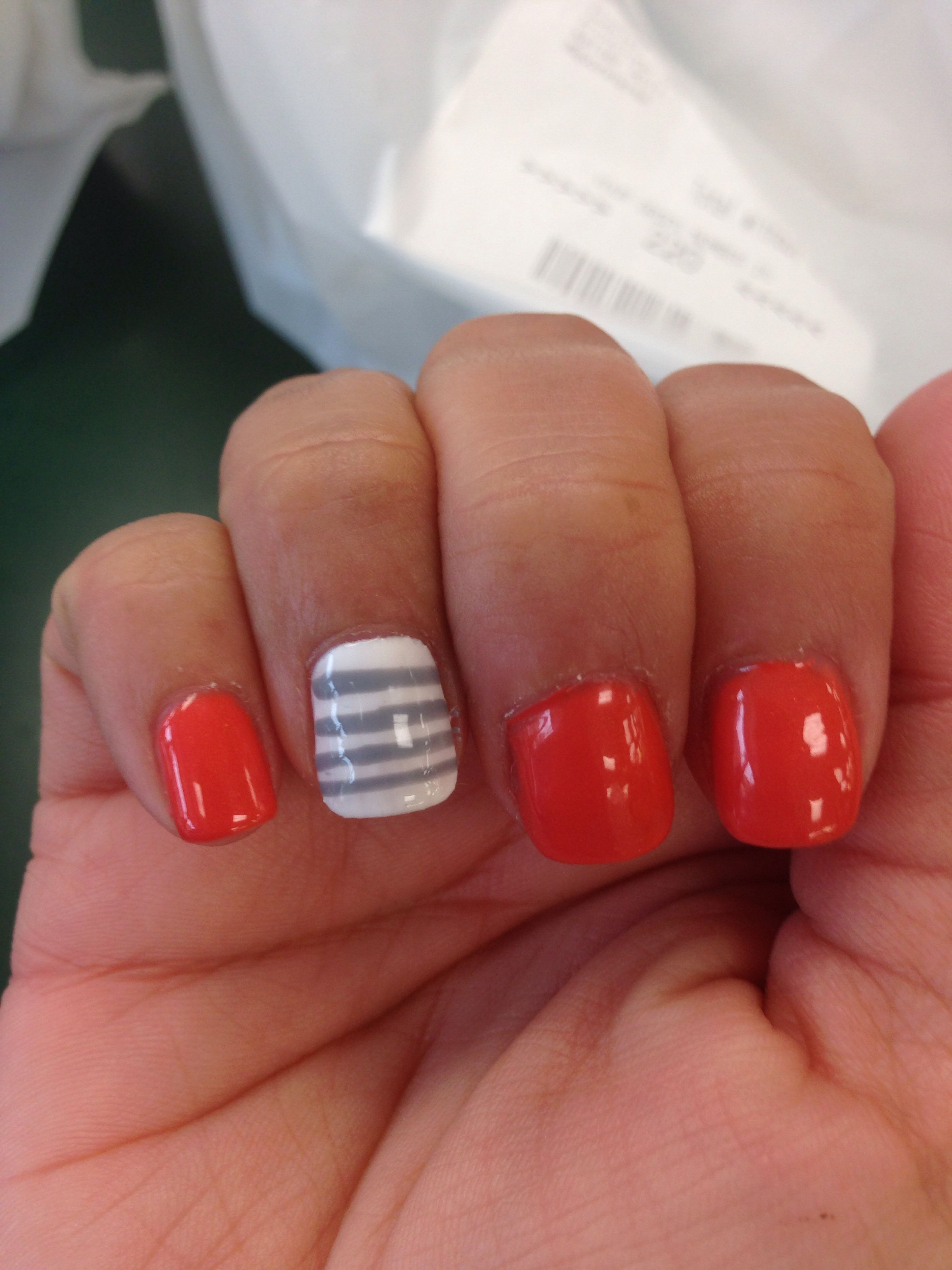Gel Manicure Coral Color White Nail And Gray Thin Stripes
