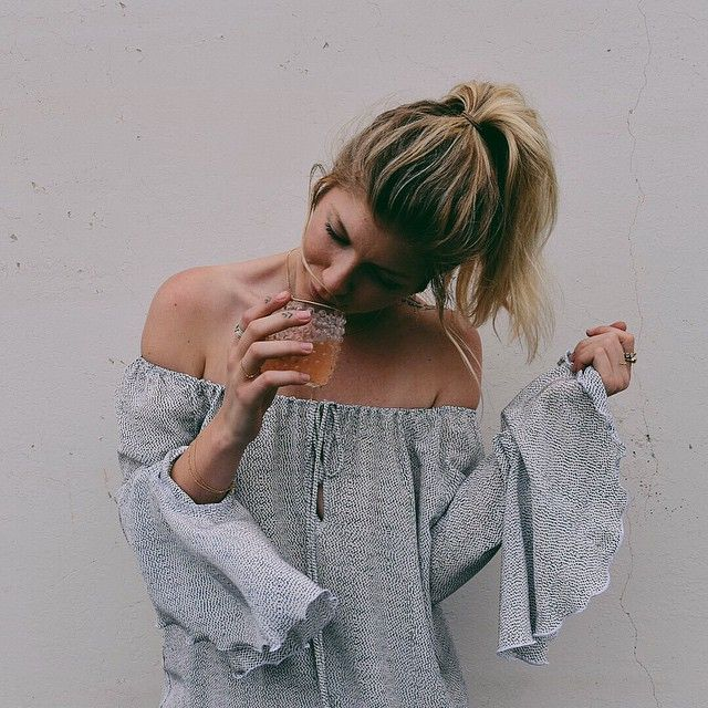 Silky and shoulder like... The #stonecoldfox Van Blouse on @taylorfayebrown by @lili_claspe