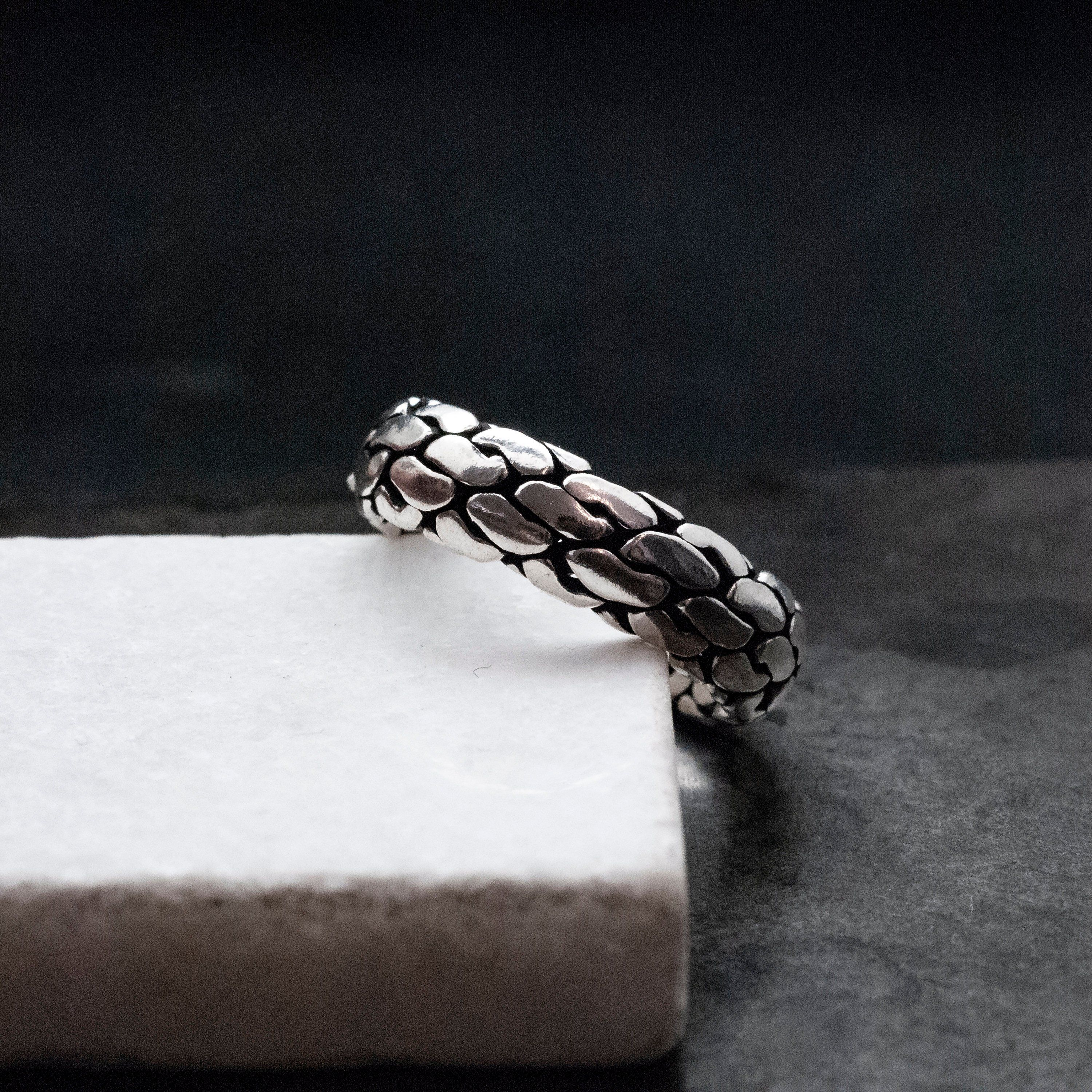 Braided Sterling Silver Band Ring for Men/Women, Unisex
