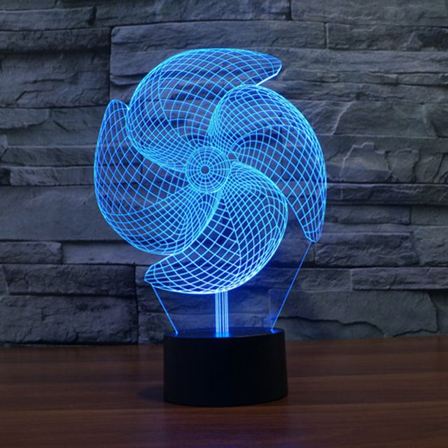 Electric Fan Night Light 3d Led Lamp 3d Illusion Lamp Novelty Lighting