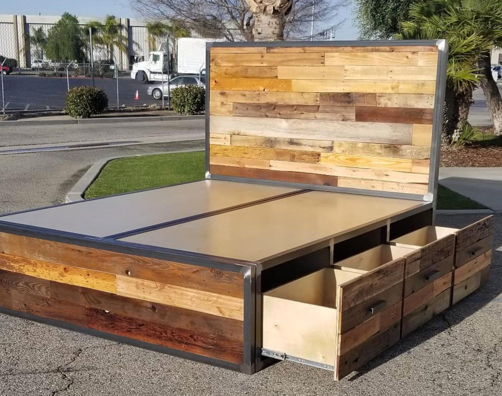 Industrial Reclaimed Wood Platform Storage Bed Platform Bed With