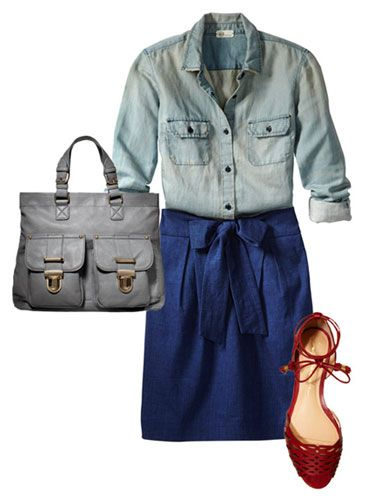 A chambray shirt mixed with a femme skirt is absolutely ladylike.