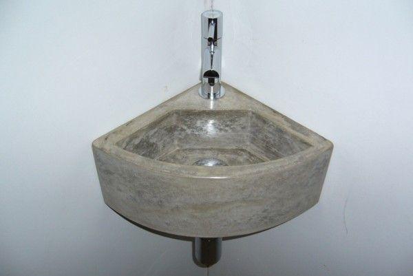 Inloopdouche Met Hoekfontein : Hoekfontein klein rond grijs beton bijkeuken toilet