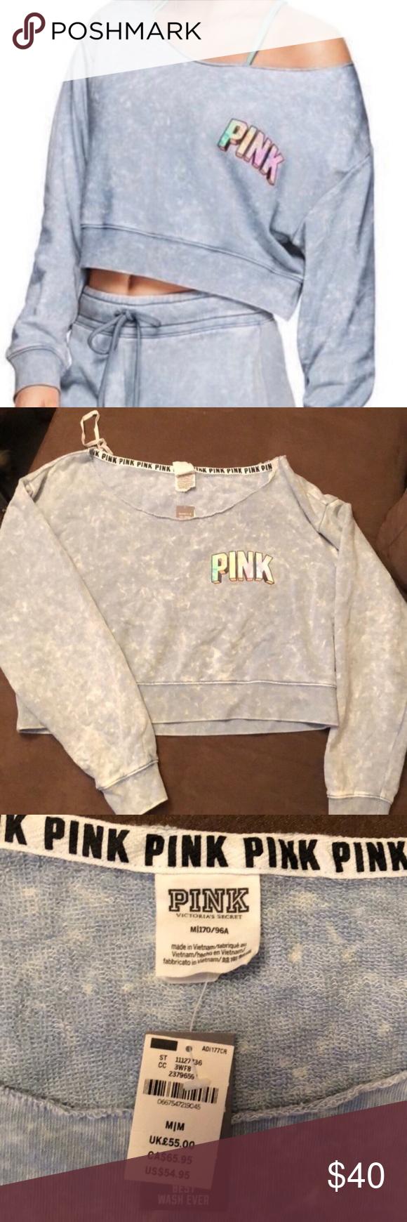 Victoria/'s Secret Pink Sweatshirt Lightweight Pullover Top Graphic Vs New Nwt