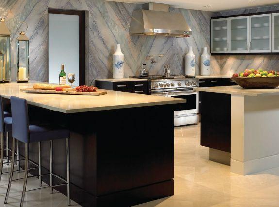 The granite walls are wonderful in this modern minimalist kitchen.
