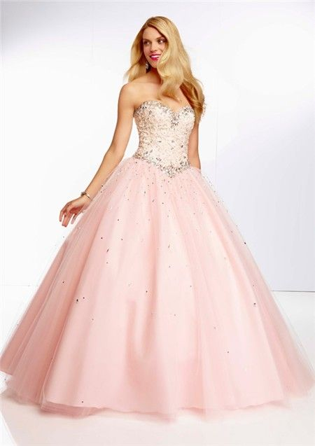 Ball Gown Sweetheart Light Pink Tulle Lace Beaded Prom Dress ...