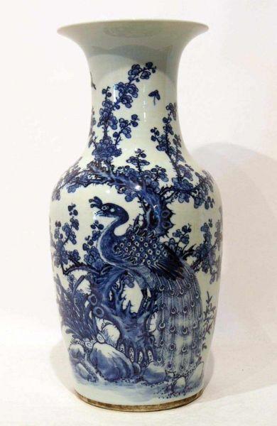 Vase, China, 19. Jh.  blau-weiß Malerei, H. 45cm