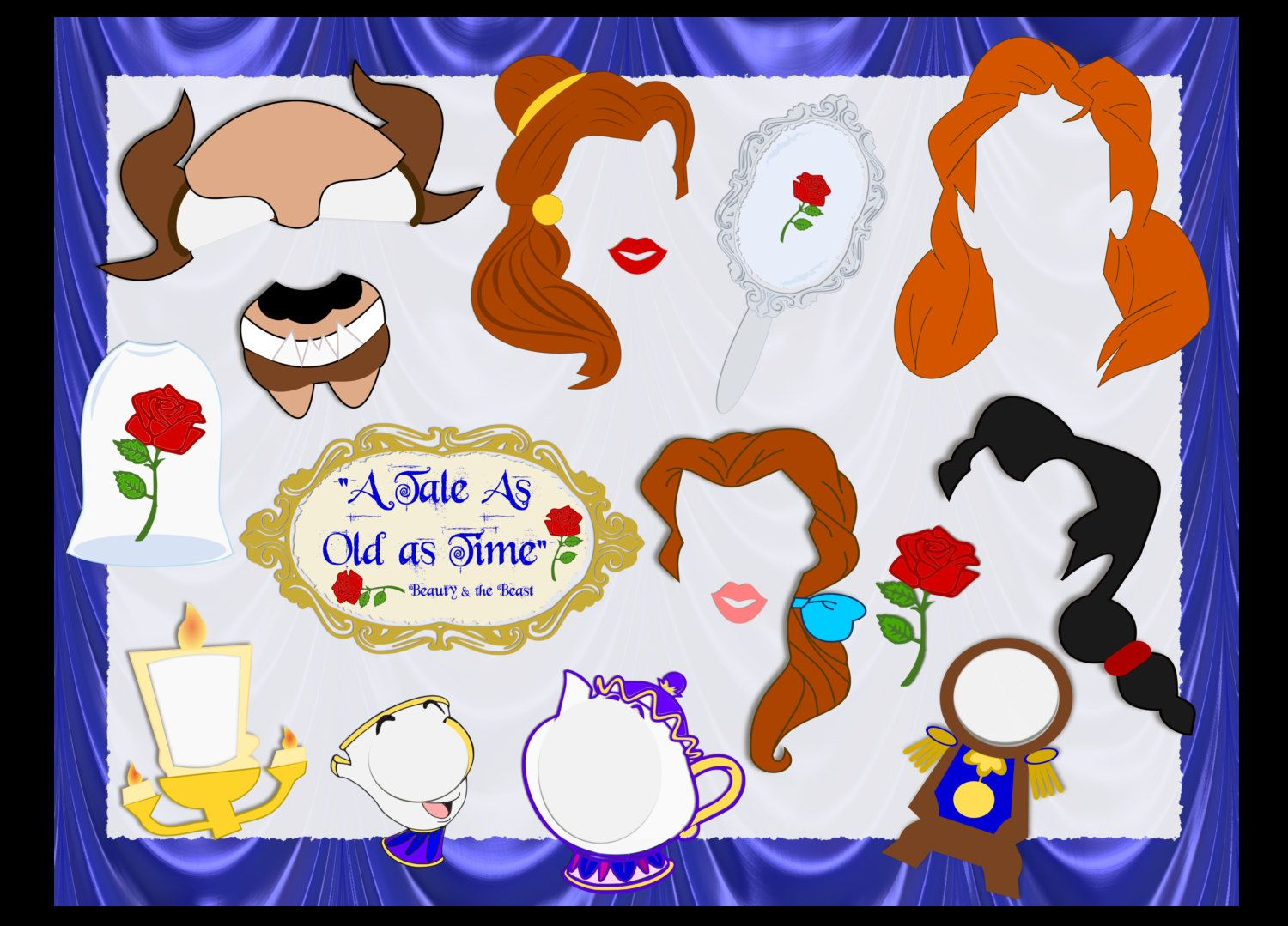 Beauty & the Beast Inspired DIY Printable Props-  Beauty and the Beast Party Photo Booth Props, Unofficial Princess DIY party props by CatchingColorFlies on Etsy https://www.etsy.com/uk/listing/288860909/beauty-the-beast-inspired-diy-printable