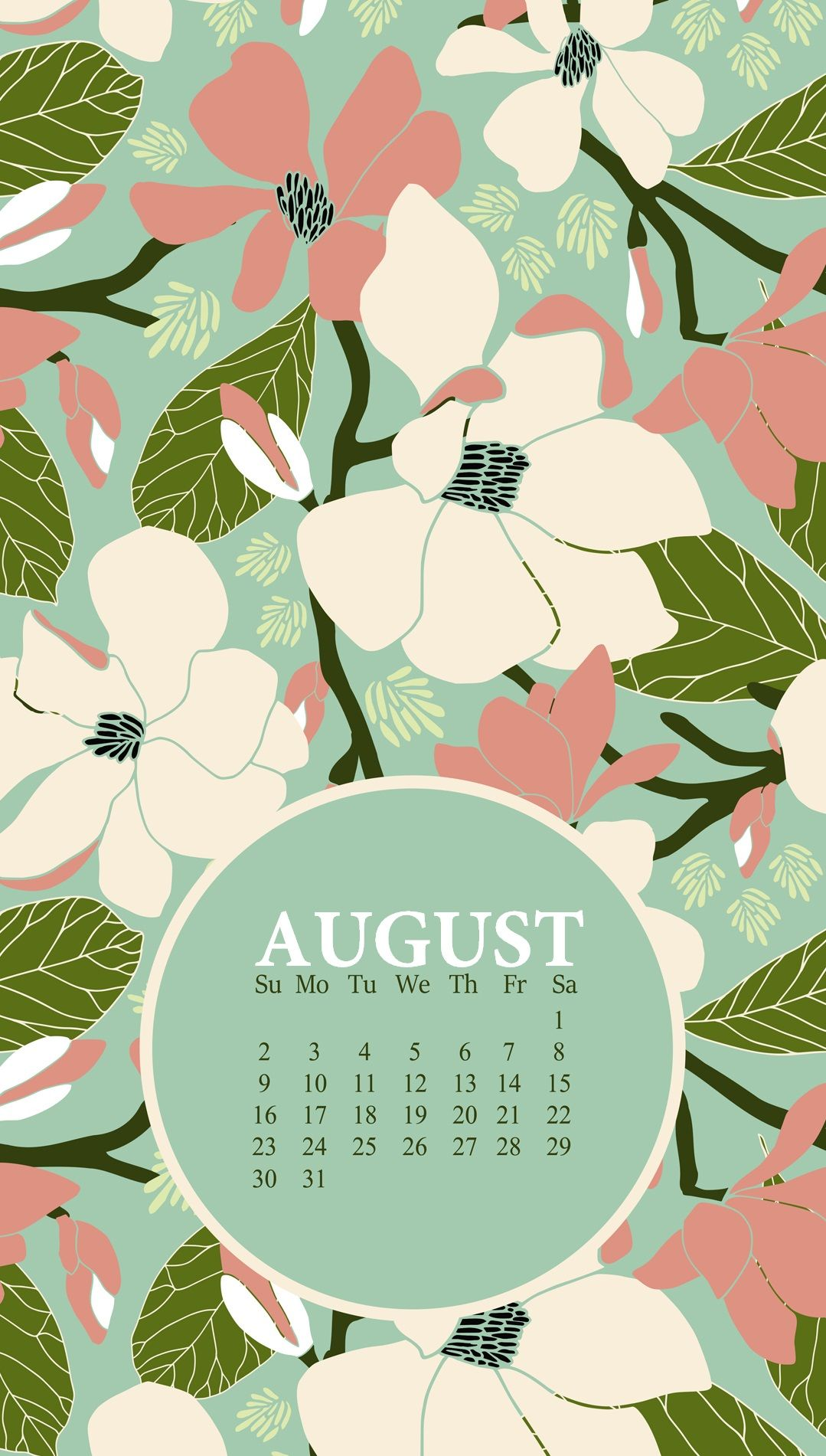 Floral August 2020 iPhone Background in 2020 Calendar