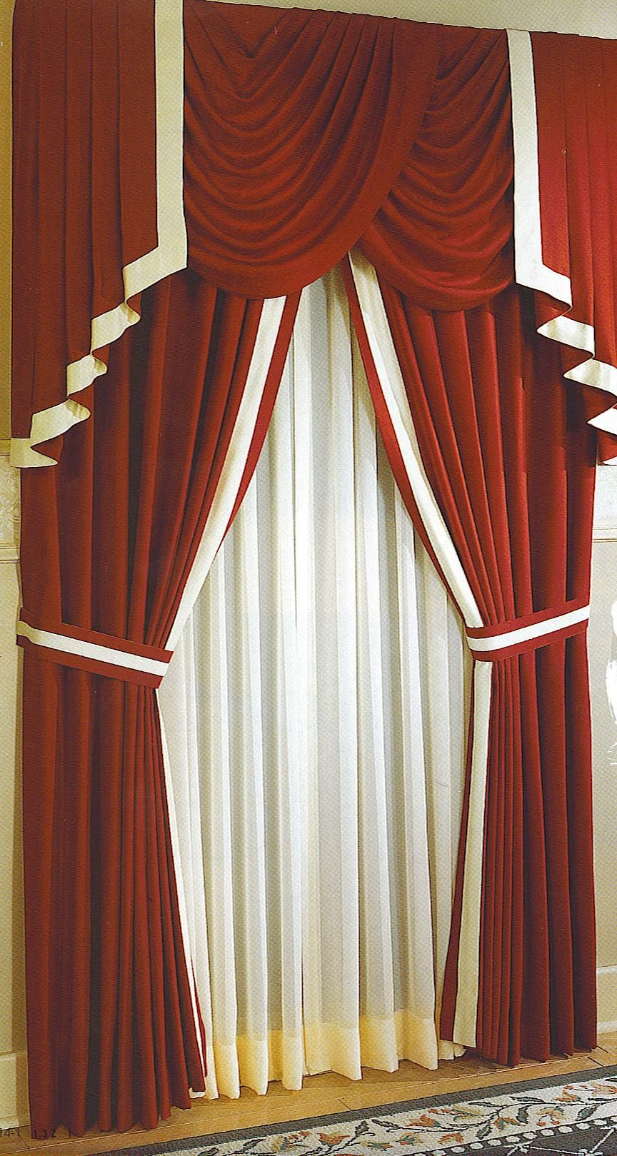 Living Room Curtain Design: Bold Color Contrast For Ties And Borders. Hmm....but NO