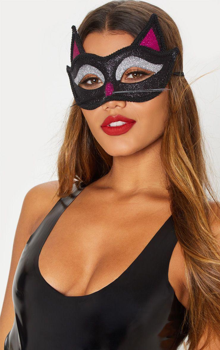 Adult Cat Glitter Eye Mask Black glitter, Glitter
