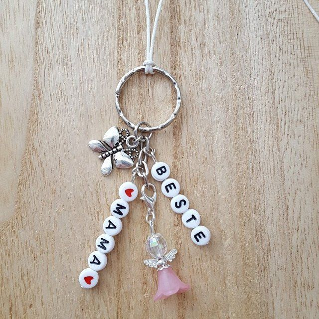 Photo of Rear mirrored keyring beaded gel alternating ring car jewelry angel wings gift best mom pocket tree butterfly