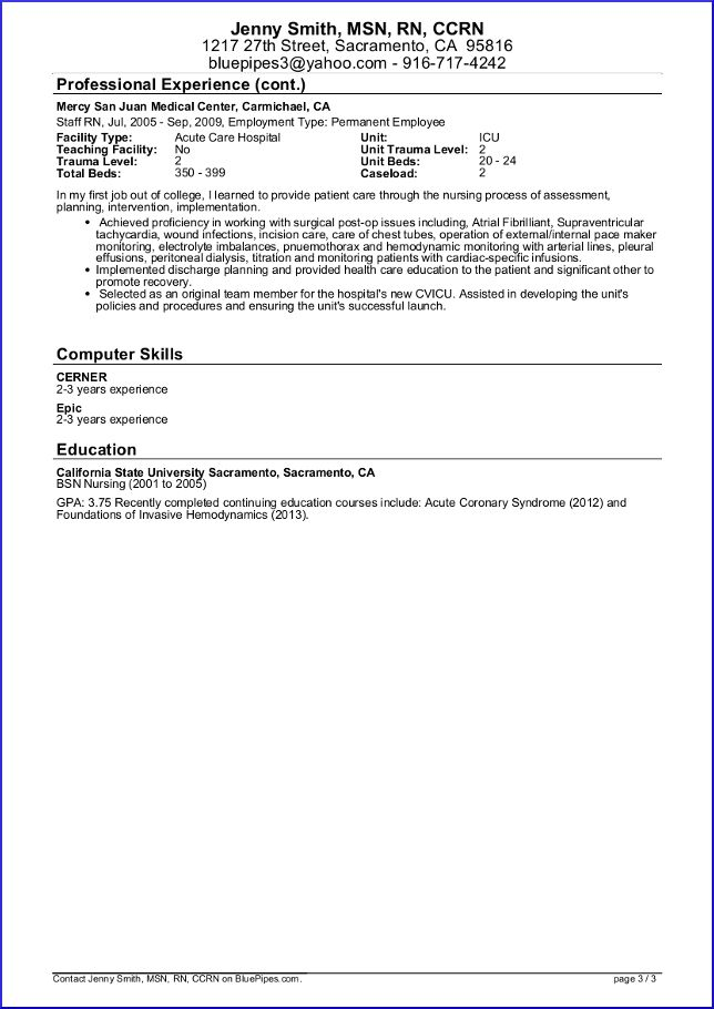 sample travel nursing resume