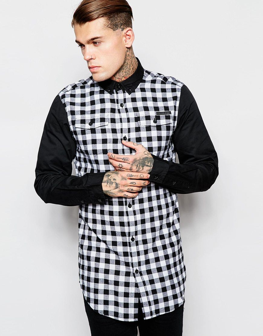 Criminal Damage Longline Checked Shirt With Contrast Sleeves