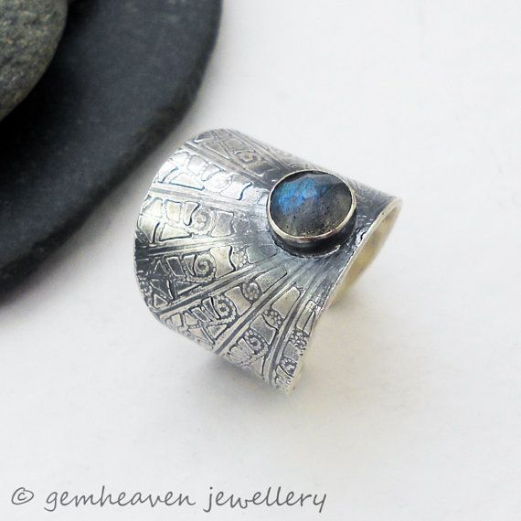 Gothic Ring  Sterling silver adjustable wide band statement cuff  by gemheaven, £45.00