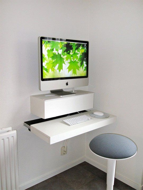 10 Space Saving Wall Mounted Desks Home Improvement Diy Computer Desk Desks For Small
