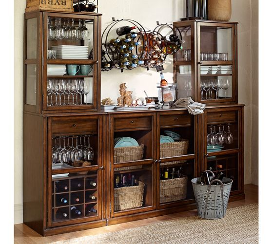 China Cabinet Build Your Own Saxton Entertaining Bar Modular Components Pottery Barn