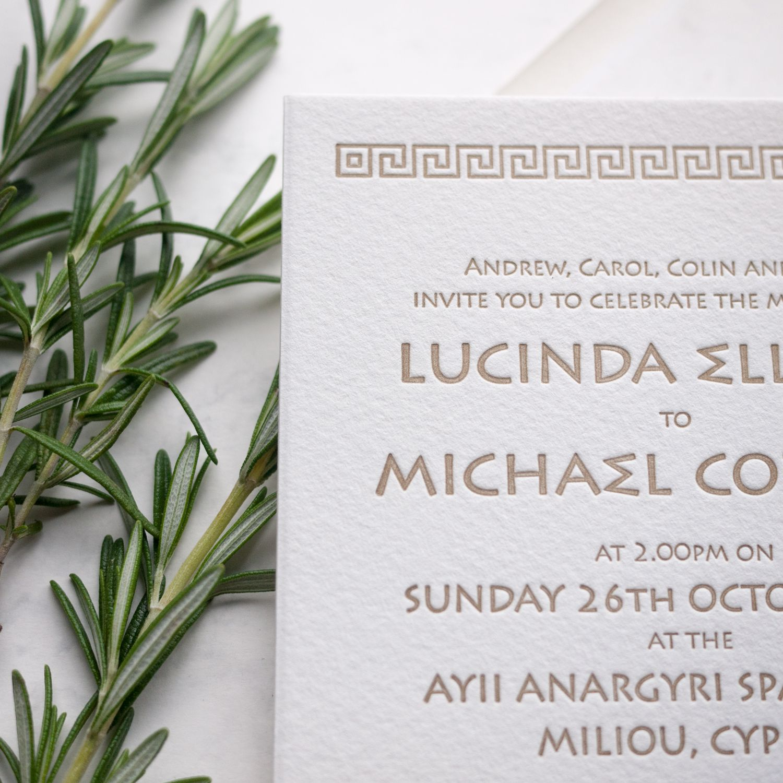 Aphrodite Collection. Greek themed wedding invitations #letterpress ...