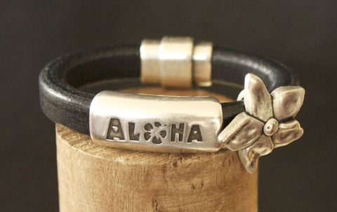 "Vegan ""Aloha and Plumeria Flower"" Bracelet – G Designs Canada"