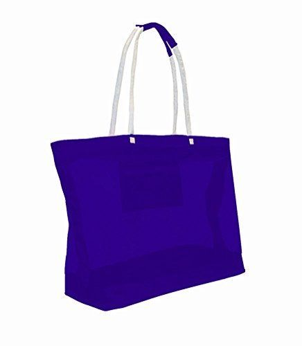 X-Large Oversized Mesh Beach Bag Tote with Zipper Closure (Blue ...
