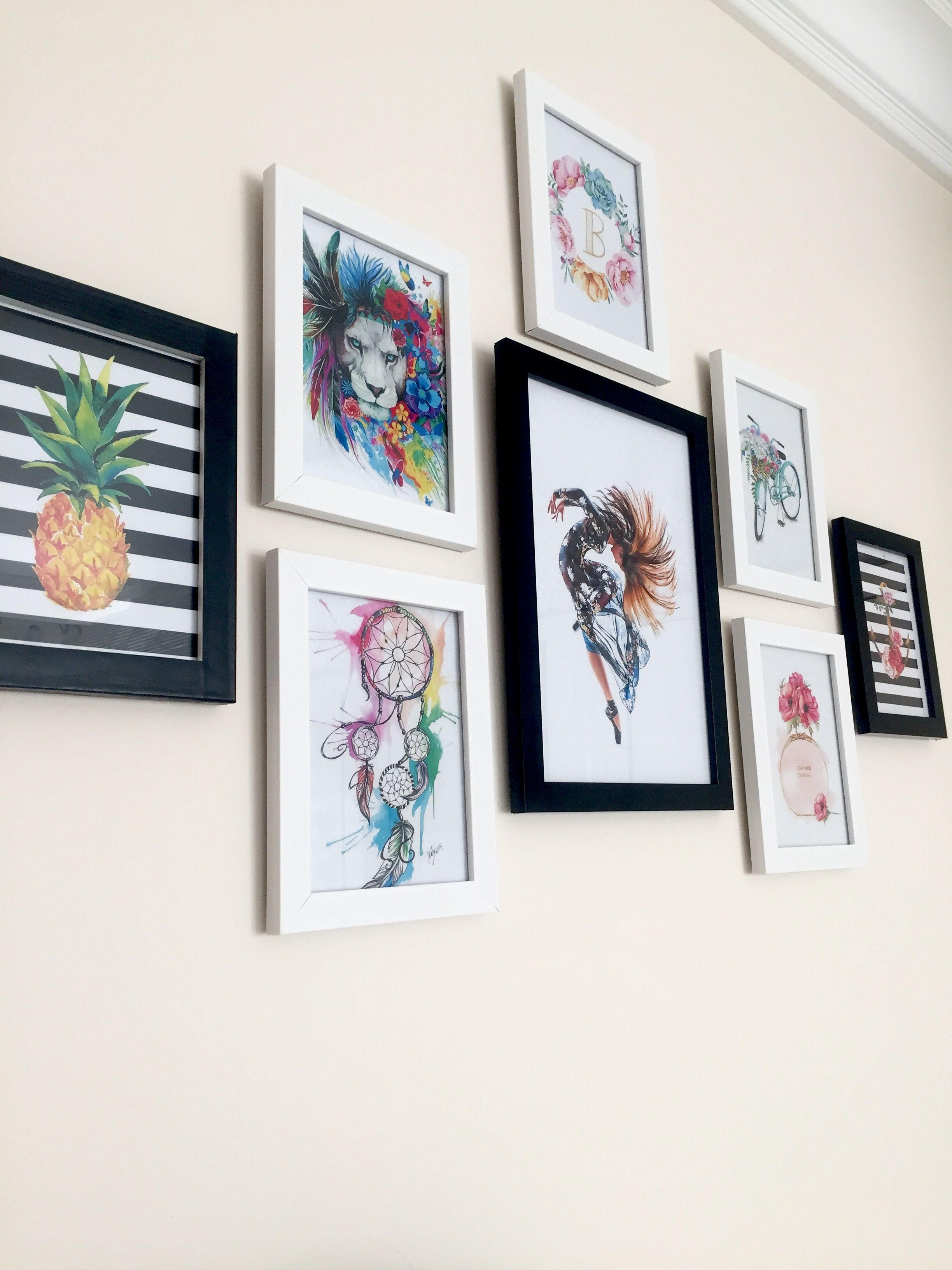 Gallery Wall Decor Idea #Gallerywall #Walldecor #Wall #Frames #Pineapple #Dreamcatcher