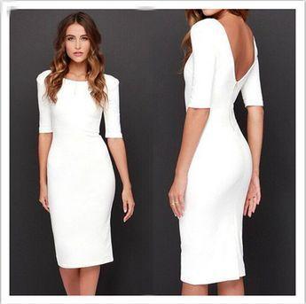 Reine Farbe Reißverschluss rückenfreie halbe Hülse Knielanges Kleid – Oh Yours Fashion – 1 #shortbacklessdress
