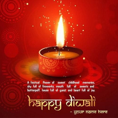 Write Name On Happy Diwali Wishing Quotes Greetings Cards
