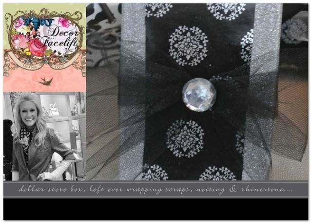 DOLLAR STORE BOX, LEFT OVER WRAPPING PAPER SCRAP, NETTING & RHINESTONE...