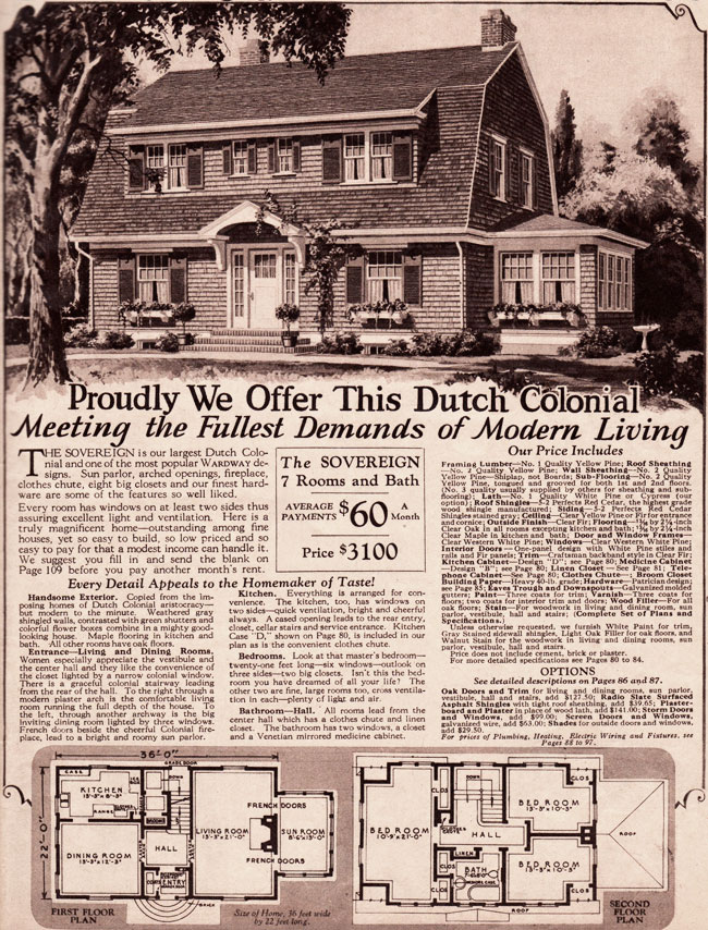 Montgomery Ward Kit Homes 1930 Dutch Colonial Revival Sovereign
