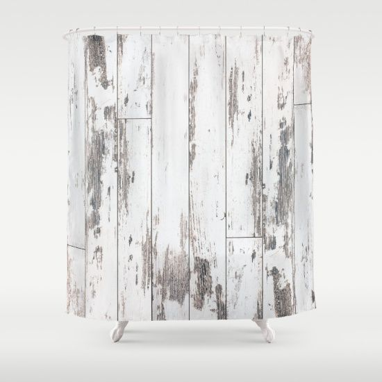 White Wood Shower Curtain