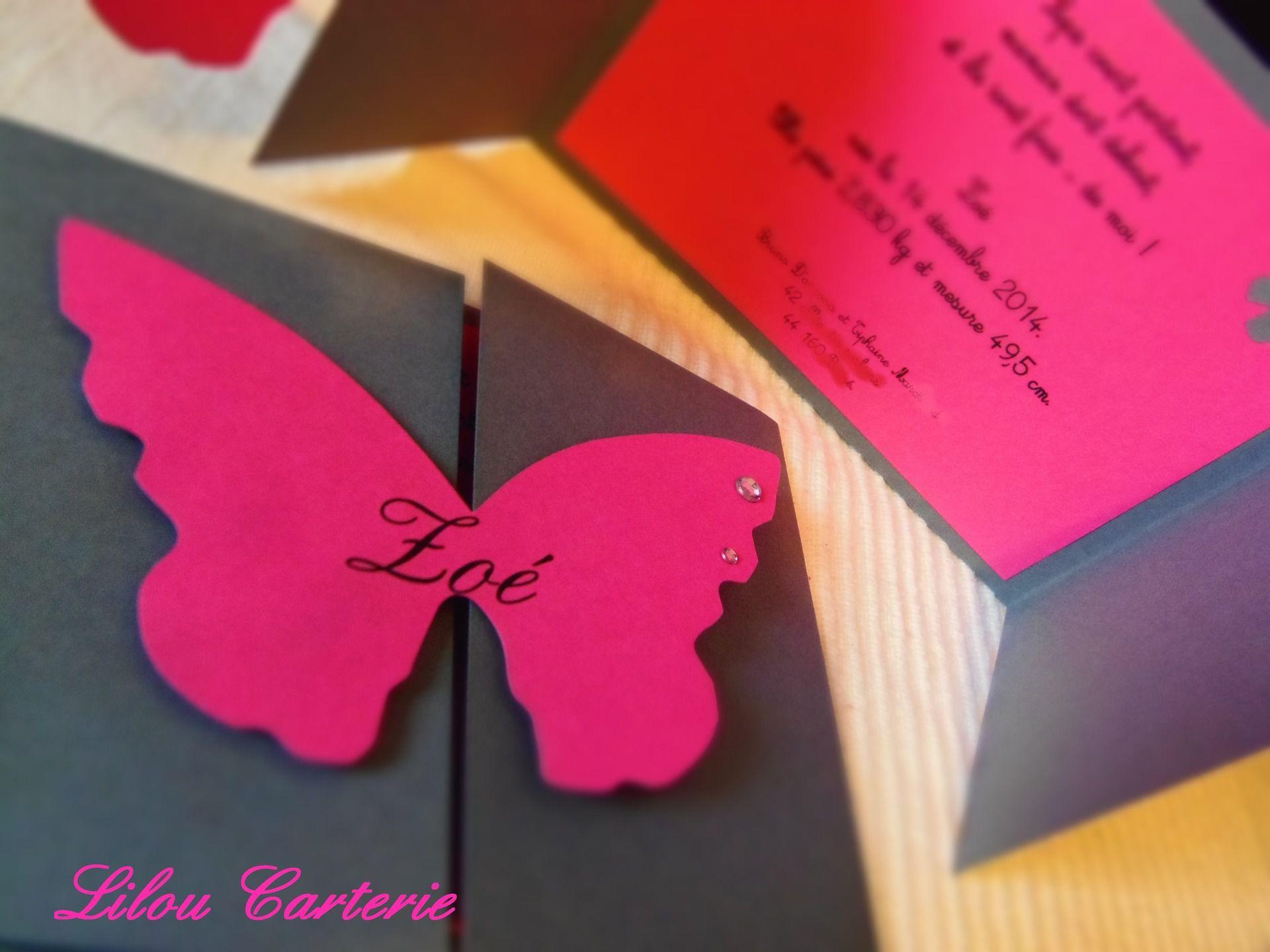 invitation bapteme papillon