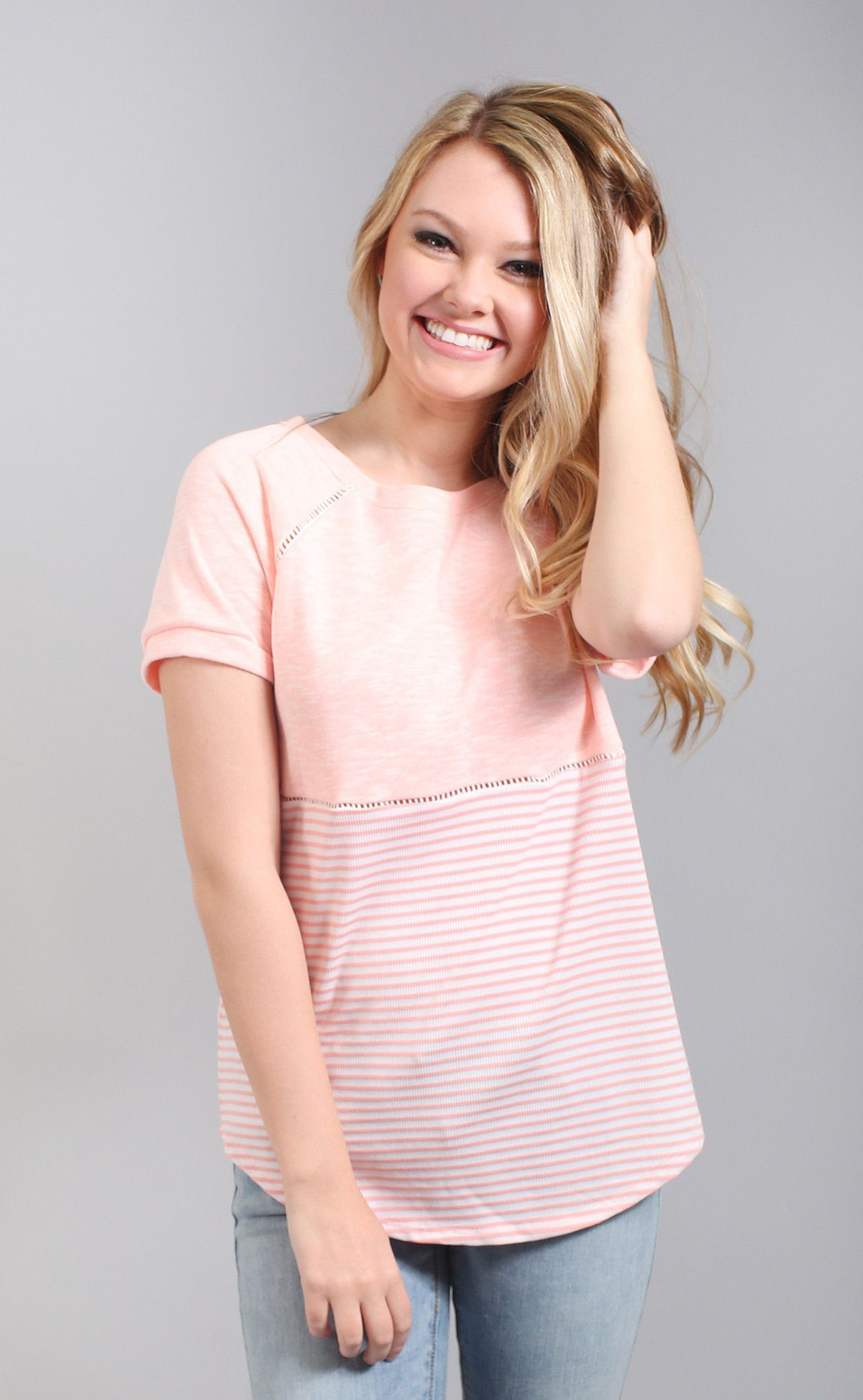 stripe happy casual t shirt - coral