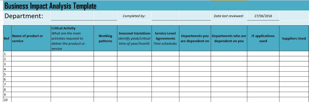 Get Business Impact Analysis Template ProjectTactics Project - reimbursement sheet template