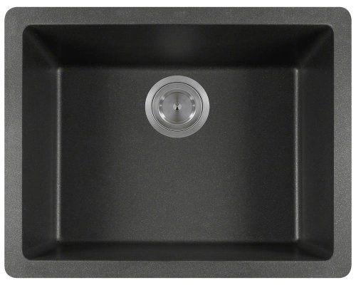 Mr Direct  Black Trugranite Single Bowl Kitchen Sink