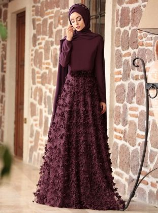 Purple Fully Lined Crew neck Muslim Evening Dress