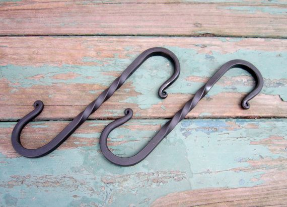 Set Of Blacksmith Made Wrought Iron S Hooks For Hanging Farmhouse Front Porch Decor Plant Hanger Plant Hanger Metal Plant Hangers Porch Decorating