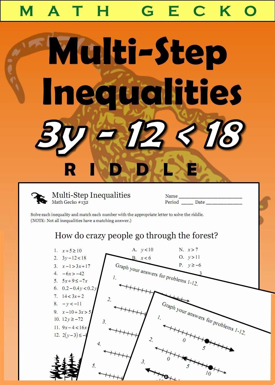 Multi Step Inequalities Worksheet Lovely 132 Multi Step Inequalities Riddle Math In 2020 Multi Step Inequalities Solving Inequalities Inequality