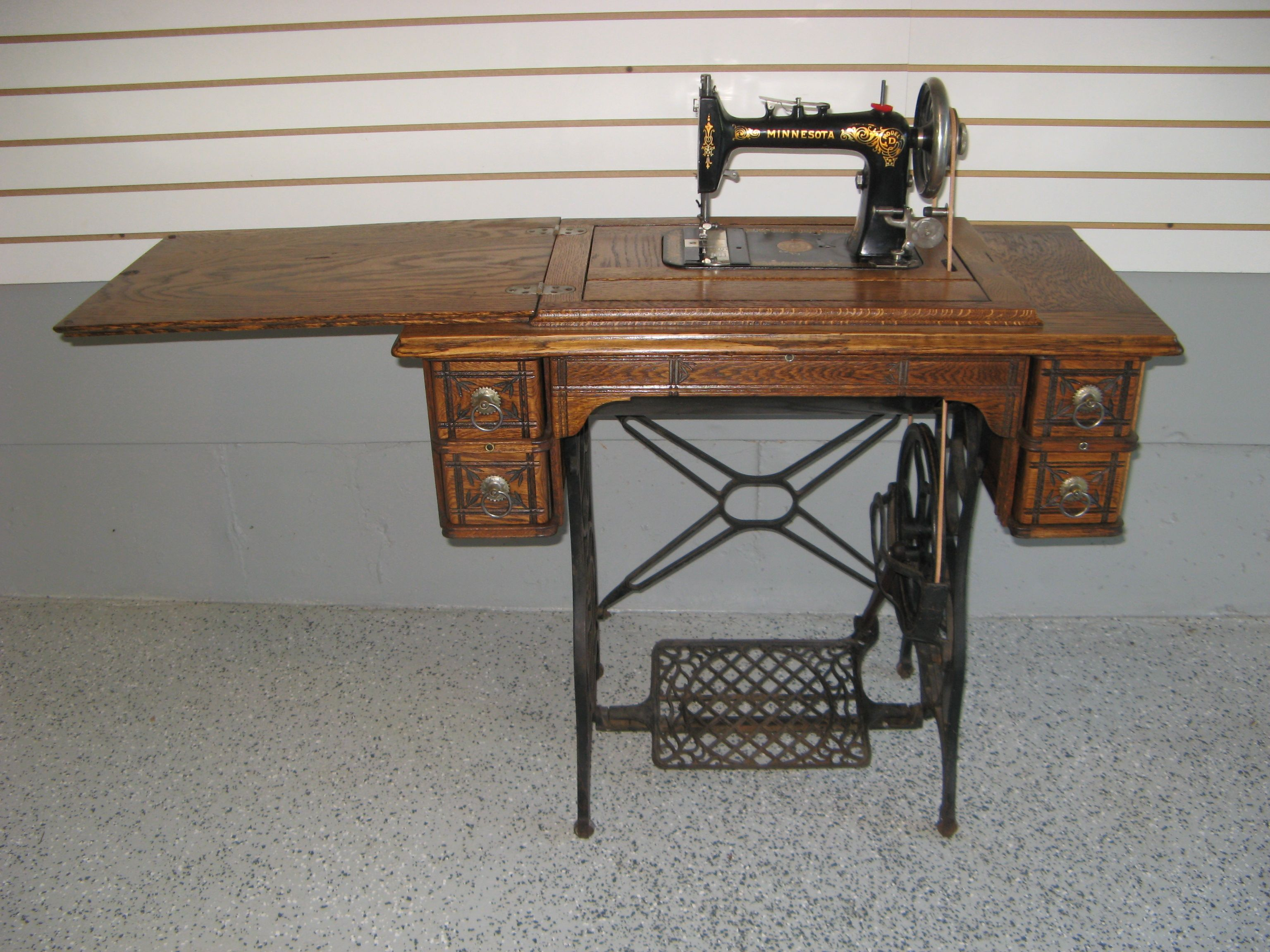 Early 1900s Minnesota D Treadle Sewing Machine And 5 Drawer Oak Cabinet After Restoration