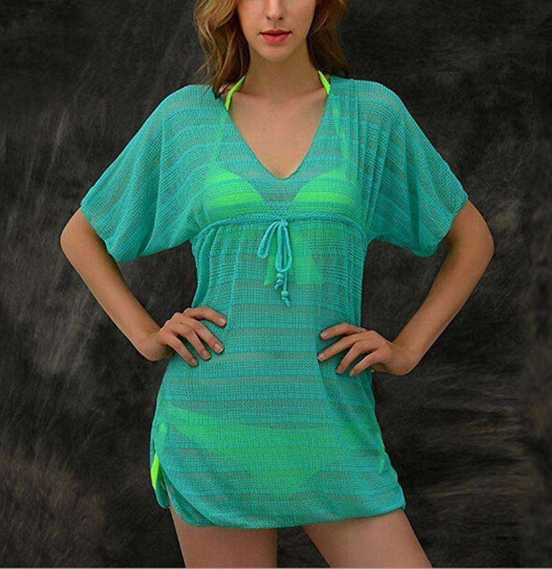 5e26d77e339 Vibrant Stripe V-Neck Beach Cover Up S-L 6 Colors | Products ...