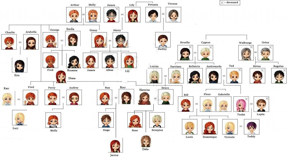 Harry Potter Family Tree Harry Potter Stammbaum Familienbaum Stammbaum