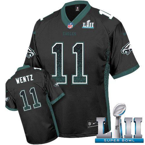 d251b4a1 Nike Eagles #11 Carson Wentz Black Alternate Super Bowl LII Men's Stitched  NFL Elite Drift Fashion Jersey